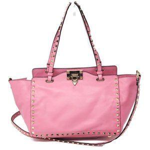 Auth Valentino Small Rockstud Pink Crossbody Bag